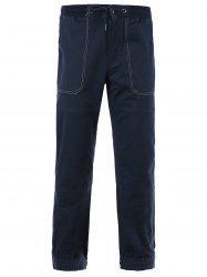 Cotton Blends Suture Design Beam Feet Lace-Up Pants -