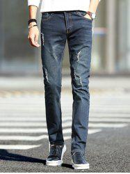 Dark Wash Zipper Fly Ripped Jeans pour les hommes -