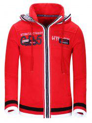Hooded Color Block Splicing Design Letter Embroidery Thicken Hoodie For Men -