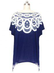 Stunning Cap Sleeve Handkerchief Blouse For Women - DEEP BLUE