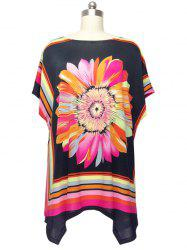 Colorized Floral Cap Sleeve Blouse For Women - COLORMIX