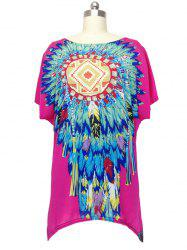 Ethnic Feather Print Loose Fitting Blouse For Women - ROSE RED