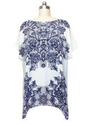 Stunning Cap Sleeve Floral Blouse For Women - WHITE ONE SIZE