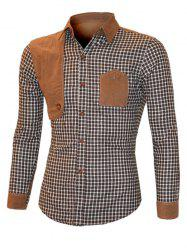 Suede Splicing Plaid Turn-Down Collar Long Sleeve Shirt For Men