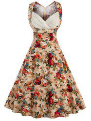 Retro Style High-Waisted Floral Print Women's Dress -