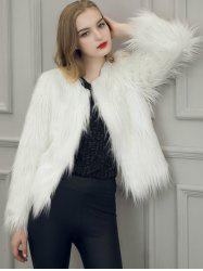 Fake Fur Open Short Coat - WHITE