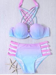 Lace-Up Hollow Out Gradient Bikini Set
