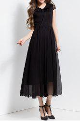Bowknot Collar Solid Color Maxi Dress
