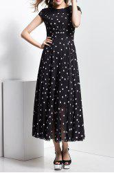 Lace Panel Long Polka Dot Short Sleeve Maxi Dress