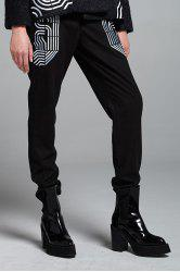 Casual Wool Blend Embroidered Pants