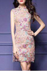 Embroidered Cheongsam Sheath Dress -