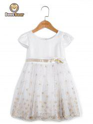 Sweet Short Sleeve Embroidered Mini Ball Gown Dress -