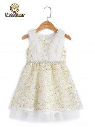 Sweet Beaded Bowknot Design Embroidered Ball Gown Dress -