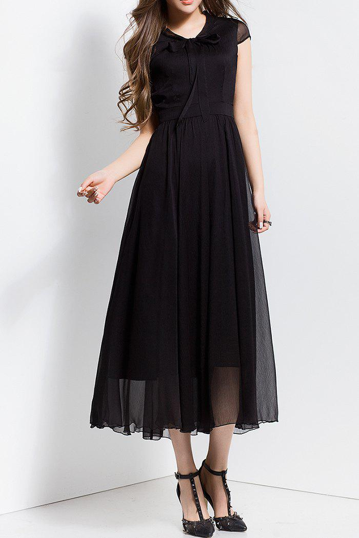 Sale Bowknot Collar Solid Color Maxi Dress