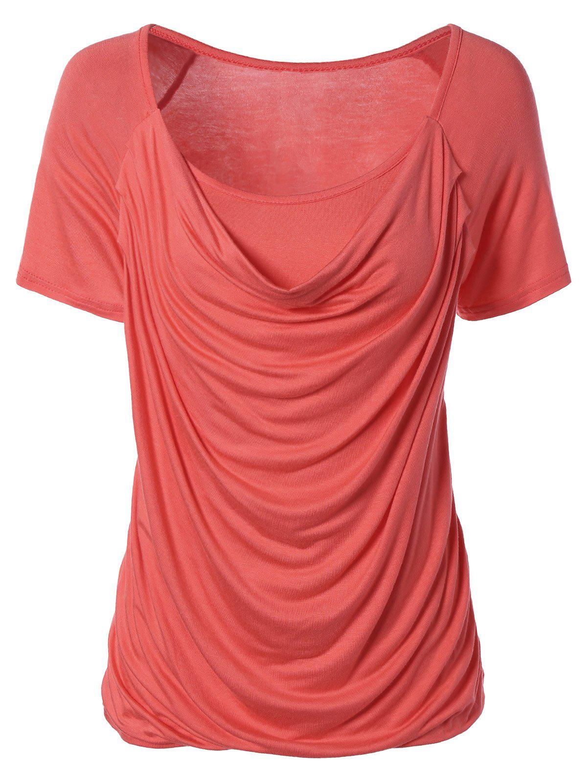 Ruched Plain Ruffled T-ShirtWOMEN<br><br>Size: XL; Color: WATERMELON RED; Material: Cotton Blends; Shirt Length: Regular; Sleeve Length: Short; Collar: Scoop Neck; Style: Fashion; Season: Summer; Pattern Type: Solid; Weight: 0.200kg; Package Contents: 1 x T-Shirt;