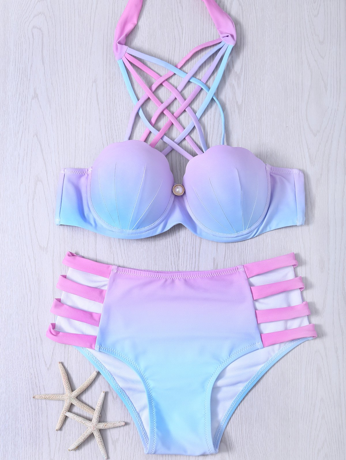 Fancy Lace-Up Hollow Out Gradient Bikini Set