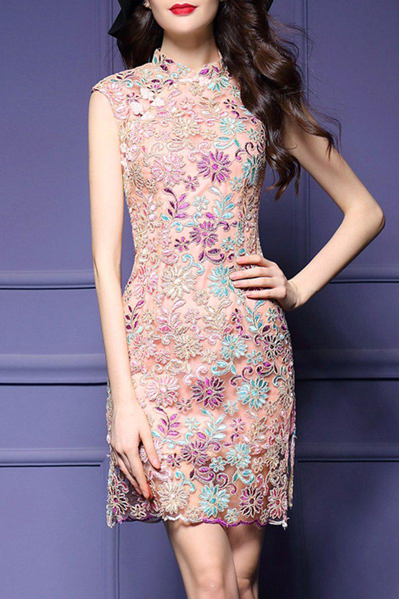 Fancy Embroidered Cheongsam Sheath Dress