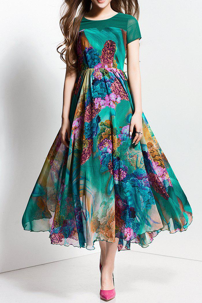 Online Floral Printed Maxi Casual Dress