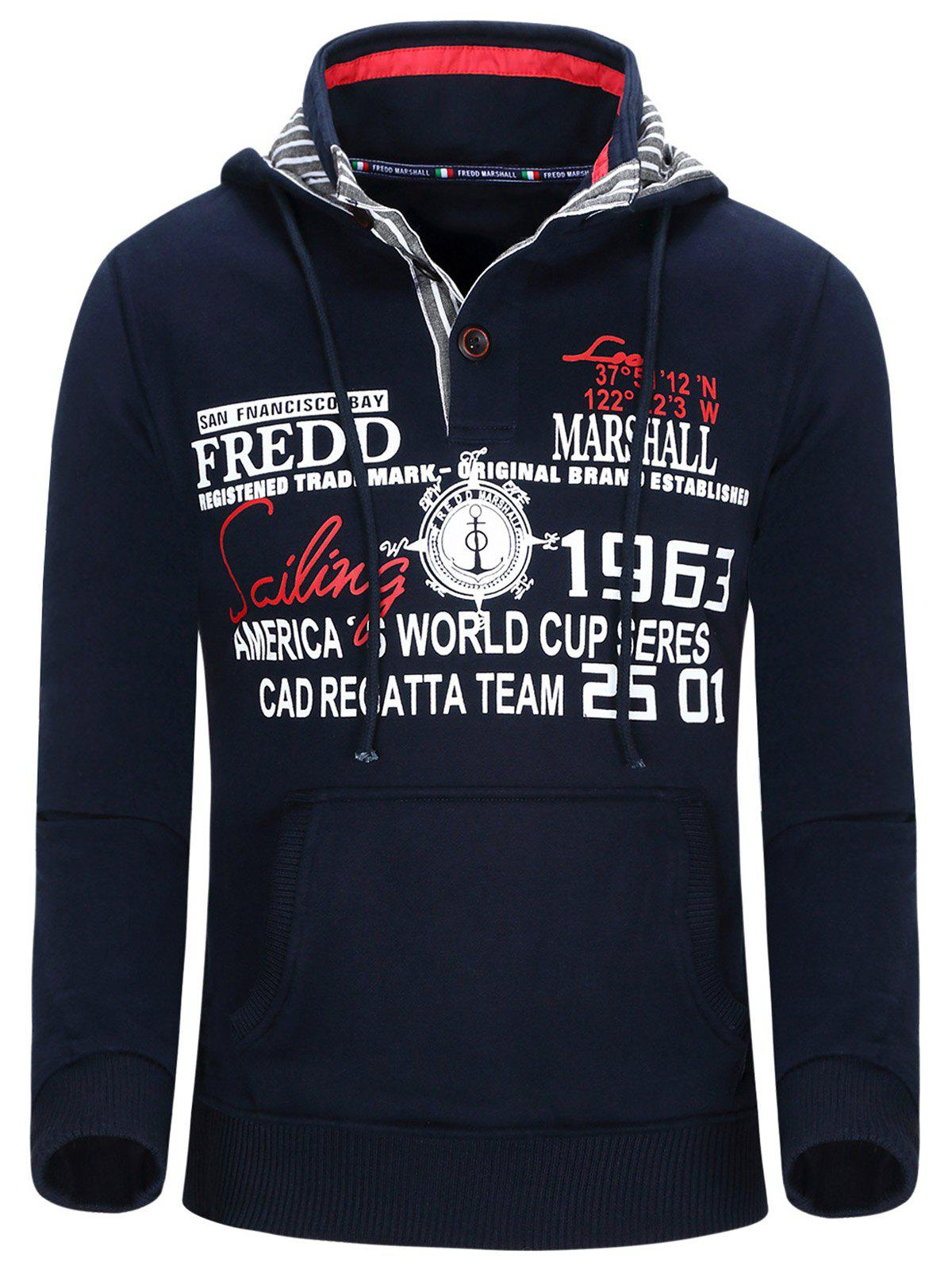 Unique Hooded Compass and Letters Print Thicken Hoodie For Men