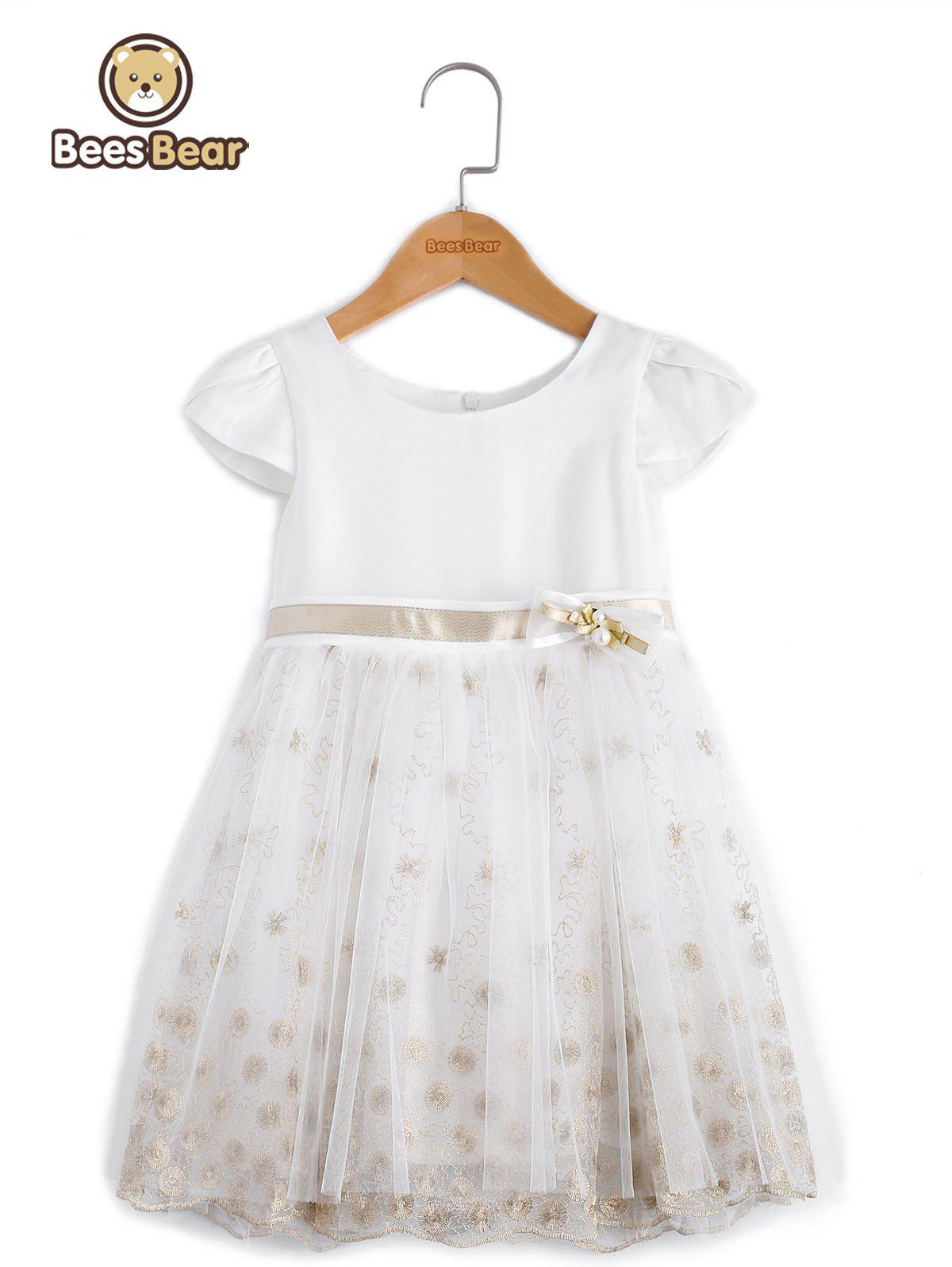 Chic Sweet Short Sleeve Embroidered Mini Ball Gown Dress