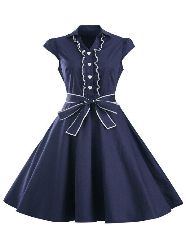 Ruffled Cap Sleeves Flare A Line DressWOMEN<br><br>Size: 2XL; Color: PURPLISH BLUE; Style: Vintage; Material: Polyester; Silhouette: A-Line; Dresses Length: Knee-Length; Neckline: Turn-down Collar; Sleeve Length: Short Sleeves; Embellishment: Ruffles; Pattern Type: Solid; With Belt: Yes; Season: Summer; Weight: 0.360kg; Package Contents: 1 x Dress  1 x Belt;