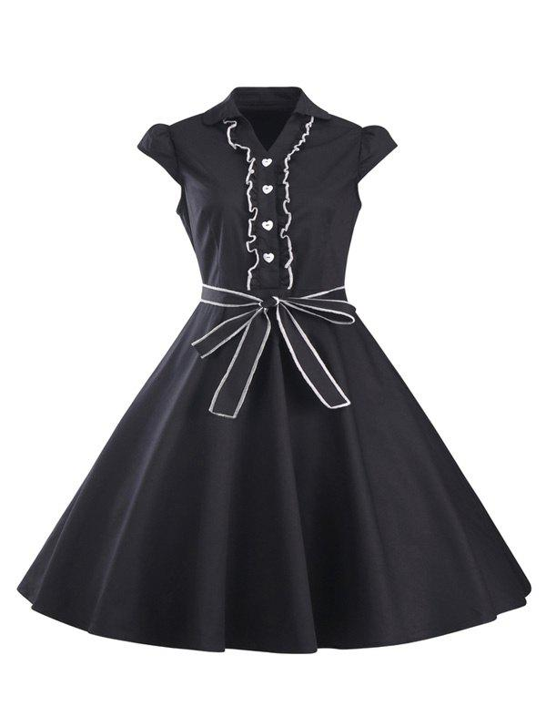 Discount Ruffled Cap Sleeves Flare A Line Dress