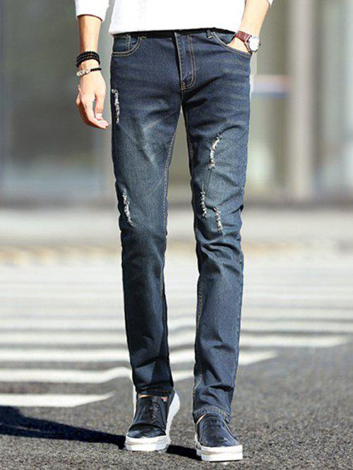 Dark Wash Zipper Fly Ripped Jeans pour les hommes