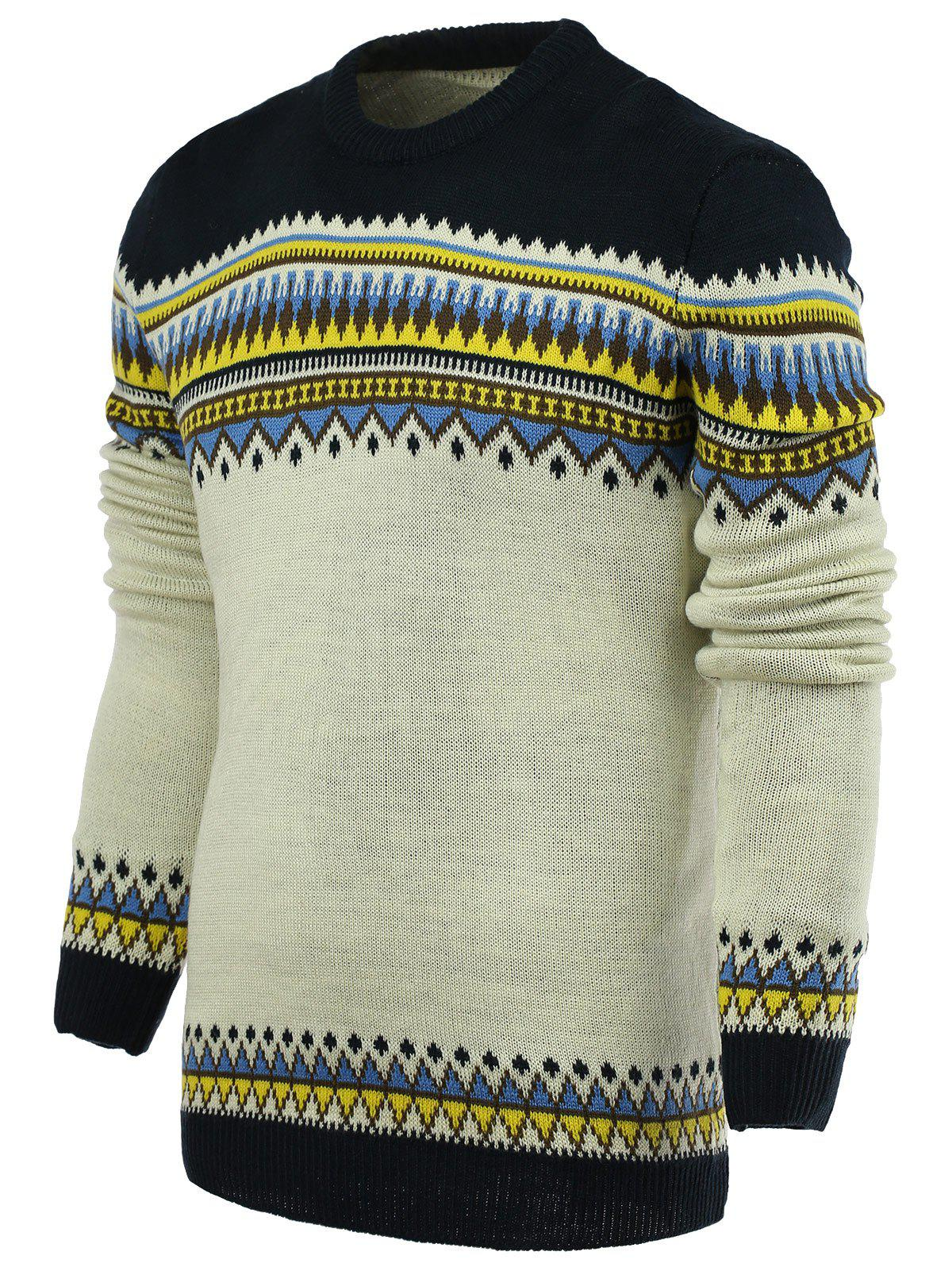 Best Round Neck Ethnic Style Geometric Pattern Stylish Long Sleeve Sweater For Men