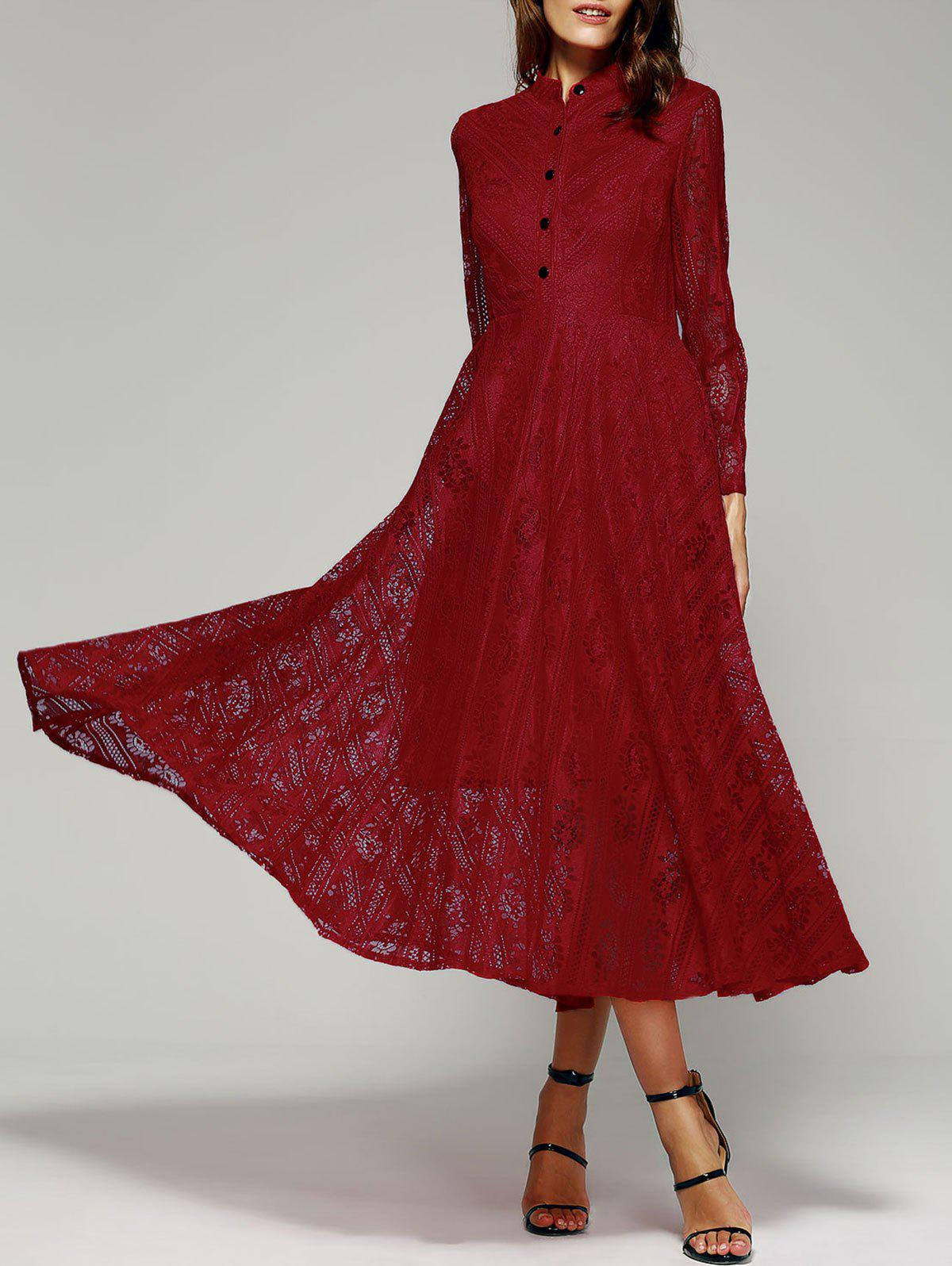 Shops Long Sleeve Stand Collar Wine Red Lace Dress