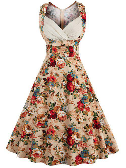 Trendy Retro Style High-Waisted Floral Print Women's Dress