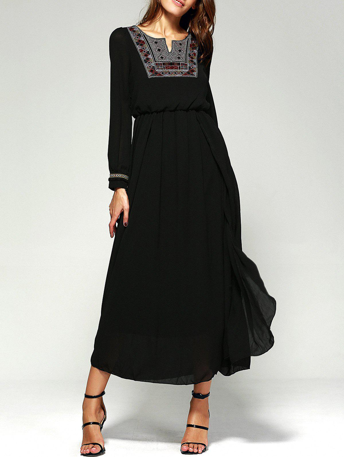Sale Maxi Long Sleeve A Line Chiffon Swing Dress