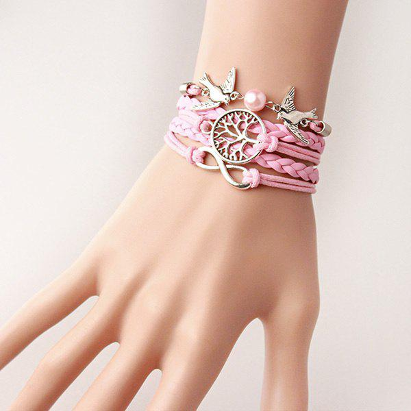 Tree of Life Infinity Friendship BraceletJEWELRY<br><br>Color: PINK; Item Type: Strand Bracelet; Gender: For Women; Chain Type: Rope Chain; Style: Trendy; Shape/Pattern: Animal; Weight: 0.030kg; Package Contents: 1 x Bracelet;