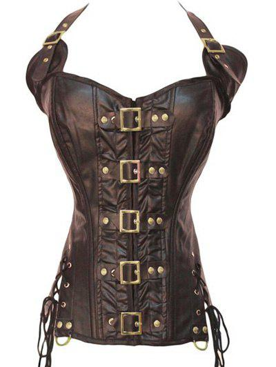 Stunning Gothic Lace Up Halter Latex CorsetWOMEN<br><br>Size: S; Color: COFFEE; Material: Polyester; Pattern Type: Patchwork; Embellishment: Hollow Out,Lurex,Spliced,Vintage; Weight: 0.300kg; Package Contents: 1 x Corset;