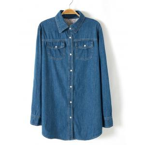 Plus Size Brief Buttoned Long Denim Shirt - Deep Blue - 3xl