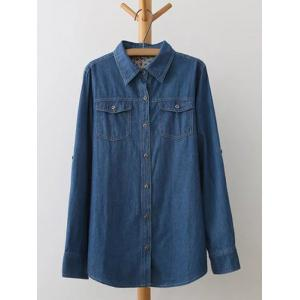 Plus Size Flap Pockets Jeans Shirt
