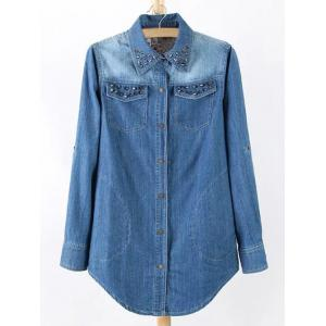 Plus Size Chic Stud Embellished Denim Tunic Shirt - Blue - L