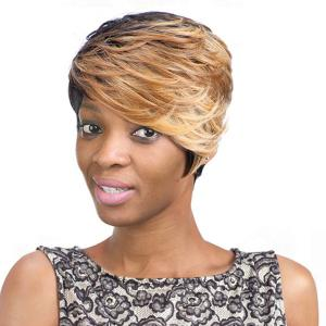 Mixed Color Short Fluffy Curly Side Bang Fashion Women's Synthetic Hair Wig