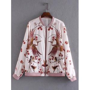Floral and Birds Pattern Bomber Jacket