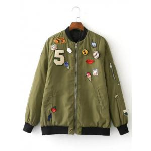 Patch Embellished Bomber Jacket - Army Green - S