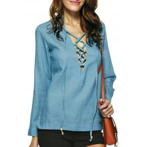 Alluring Pure Color Lace Up Blouse For Women