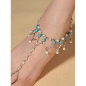 Graceful Faux Turquoise Wedding Jewelry Beaded Anklets