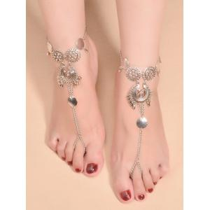 Vintage Water Drop Sequins Toe Ring Anklet - Silver