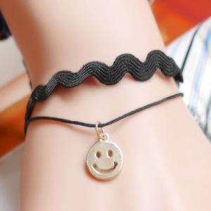 Smile Face Wave Faux Leather Bracelet - Black