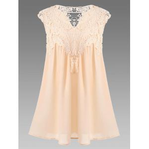 Women's Stylish V-Neck Sleeveless Lace Splicing Blouse - Apricot - Xl