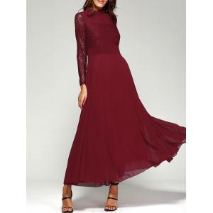 Lace Panel Long Sleeve Chiffon Maxi Formal Prom Dress - Wine Red - Xl
