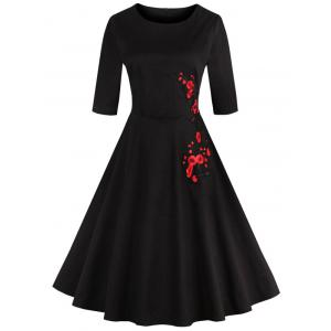 Retro Style High Waist Floral Embroidery Dress