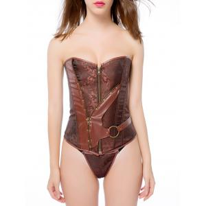 Vintage Zip Up Faux Leather Spliced Paisley Lace Up  Corset