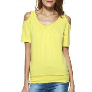 Open Shoulder Pure Color Loose Blouse