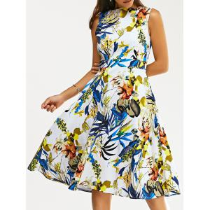 Retro Colorful Flower Print Skater Party Dress