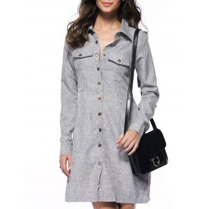 Long Sleeve Button Down Marled Pocket Tunic Shirt Dress